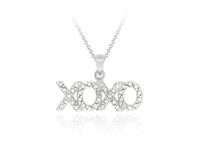 "Sterling Silver Diamond Accent ""XOXO"" Hugs & Kisses Pendant"