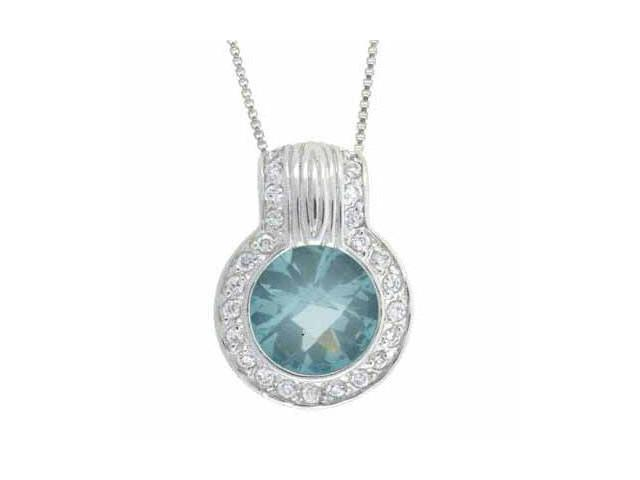 Sterling Silver round Simulated Aquamarine CZ and Simulated Diamond CZ Pendant