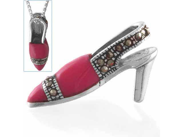 Sterling Silver Pink Enamel Fancy Shoe Pendant