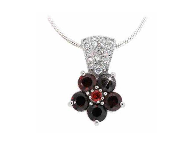 Sterling Silver Simulated Diamond CZ and Red Cubic Zirconia Pave Flower Pendant