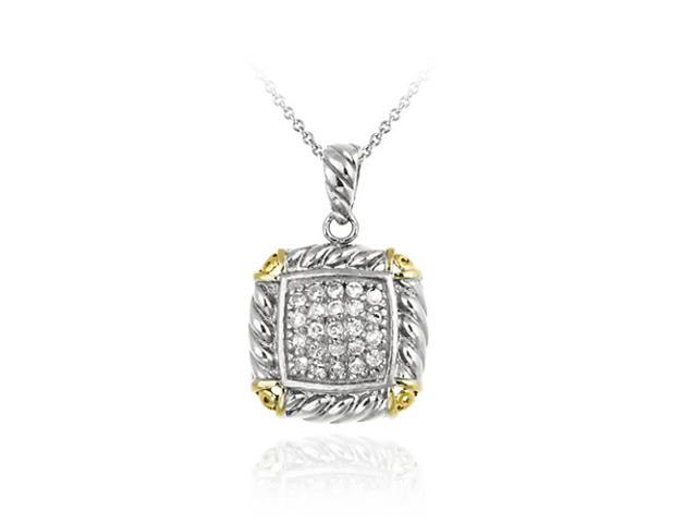 Sterling Silver Two Tone Designer Inspired Pave CZ Square Pendant w/ Rope Border