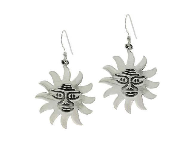 Sterling Silver Smile Sun Man Dangle Earrings
