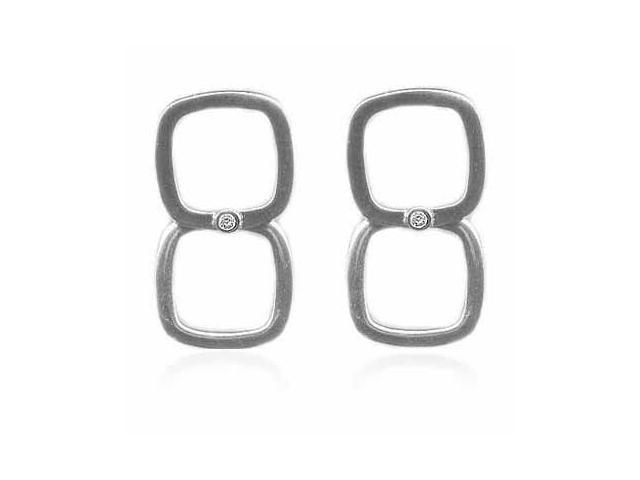 Sterling Silver Square and Simulated Diamond CZ Earrings