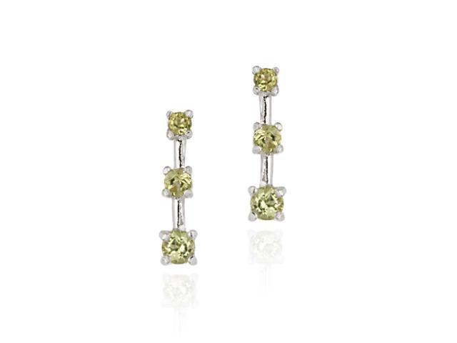 Sterling Silver Genuine Peridot Past Present Future Earrings