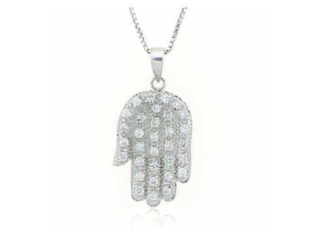 Sterling Silver Simulated Diamond CZ ~Hamsa~ Hand Pendant