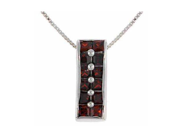 Sterling Silver Red Cubic Zirconia Rectangle Pendant