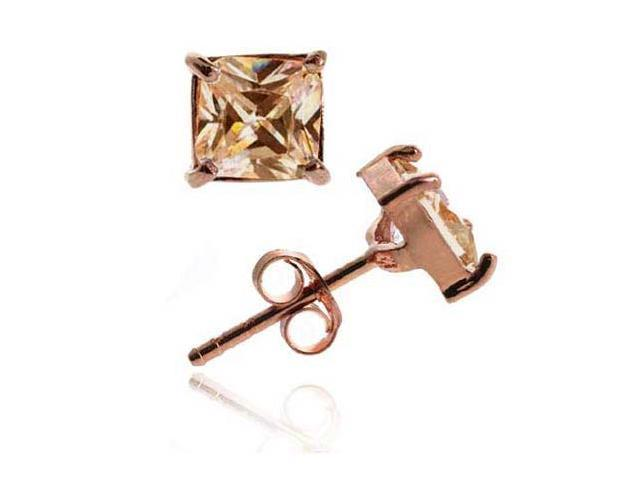 18K Rose Gold over Sterling Silver Champagne CZ 5mm Square Stud Earrings