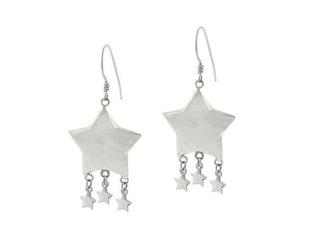 Sterling Silver Puffed Shooting Star Earrings