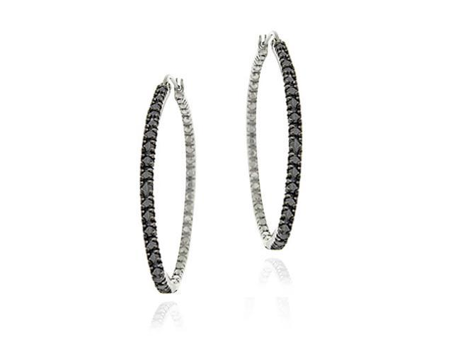 Sterling Silver Black Diamond Accent 35mm Hoop Earrings