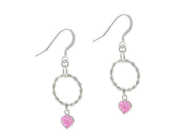 Sterling Silver .925 Twist Hoop Rope Pink cz Heart Dangle Hook Earrings
