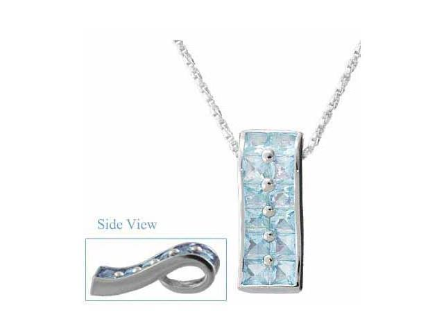 Dazzling Sterling Silver Trendy Simulated Aquamarine CZ Rectangle Pendant