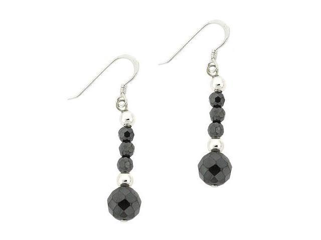 Sterling Silver .925 Faceted Genuine Hematite Stone Bead Drop Dangle Earrings