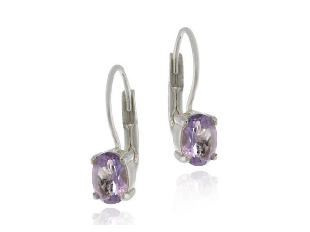 Silver Genuine Amethyst Stone Prong Set Oval LeverBack Lever Back Earrings