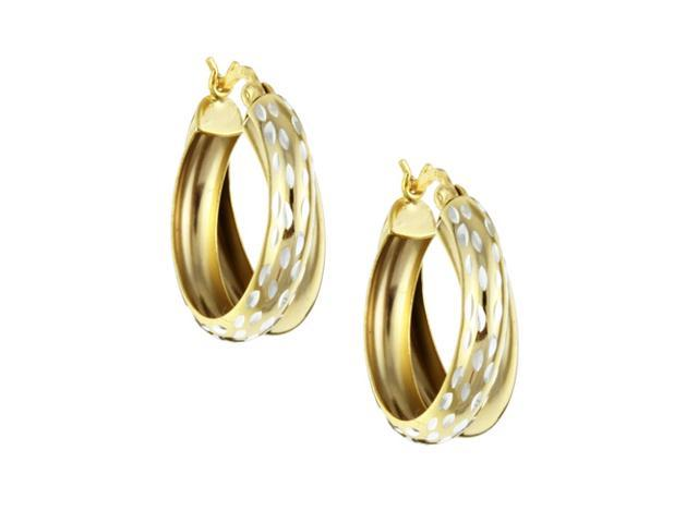 22K Yellow Gold over Sterling Silver Double Hoop Diamond-cut Earrings