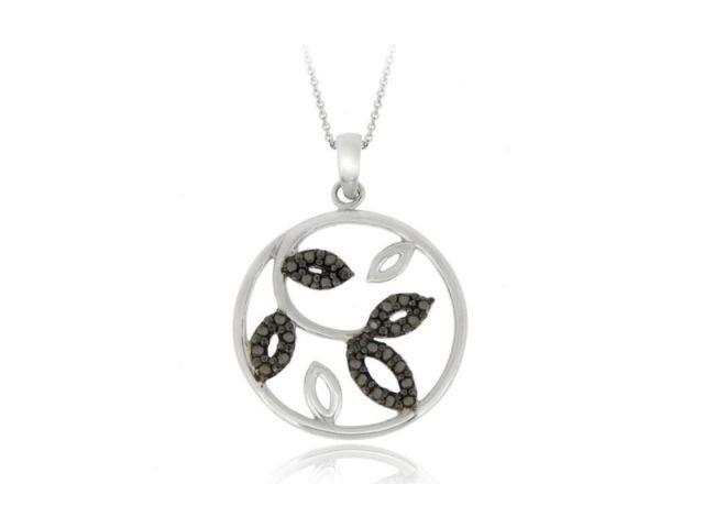 Sterling Silver Black Diamond Accent Leaf Circle Pendant