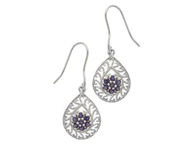 Sterling Silver & Genuine Amethyst Filigree Pear-Shaped Dangle Earrings