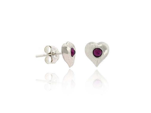 Sterling Silver .925 Purple Rhinestone Small Kid Junior Heart Stud Earrings