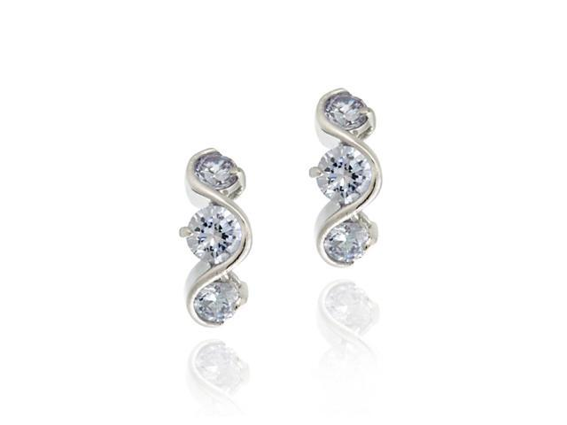 Sterling Silver Lavender CZ Three Stone S Design Earrings