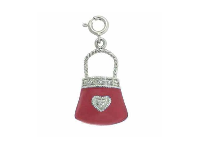 Sterling Silver Simulated Diamond CZ Red Enamel Purse Pendant and Charm