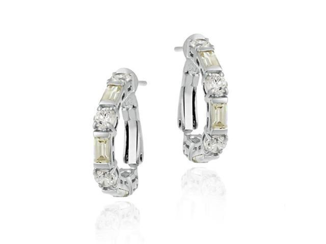 Yellow cz and Simulated Diamond CZ Omega Hoop Silver Earrings