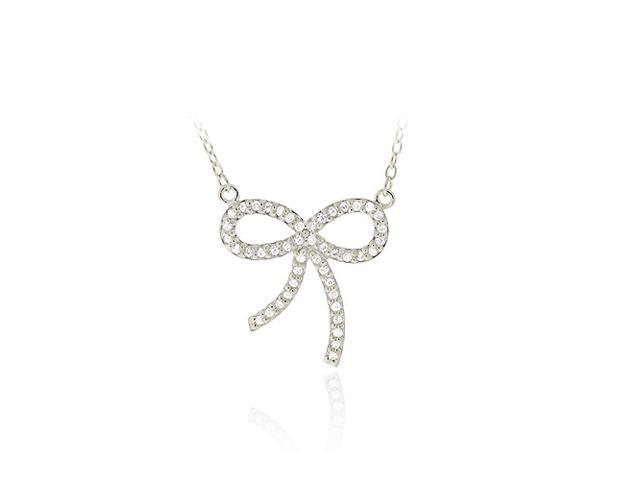 Sterling Silver CZ Bow Tie Pendant Necklace 18