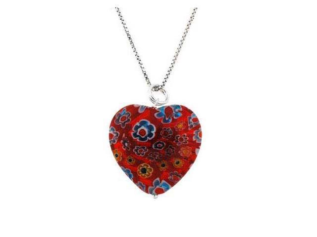 Murano Glass Sterling Silver Bead Red Multi Color Millefiori Flower Heart Pendan