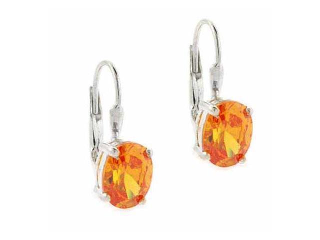 Sterling Silver Oval Orange cz Prong Set LeverBack Lever Back Earrings