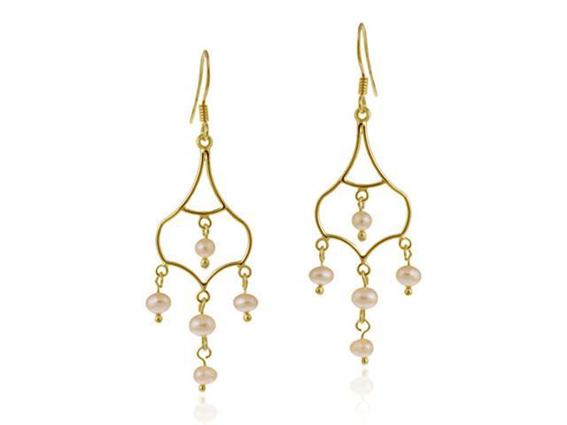 18K Gold over Sterling Silver Freshwater Cultured Pink Pearl Dangling Chandelier