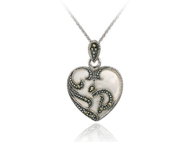 Sterling Silver Marcasite & Mother of Pearl Heart Pendant