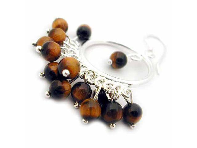 Sterling silver Genuine Tiger Eye Chandelier Hoop Earrings