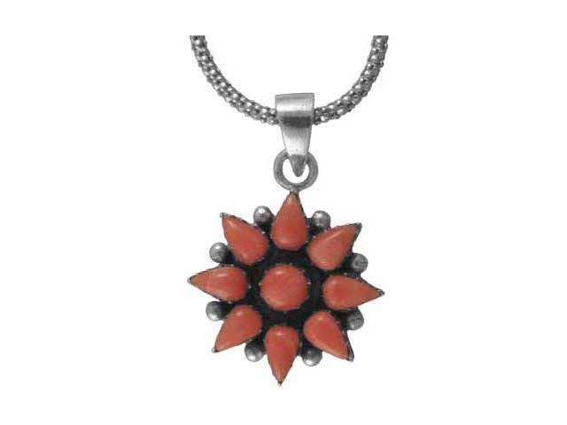Sterling Silver Pink Coral Flower Pendant