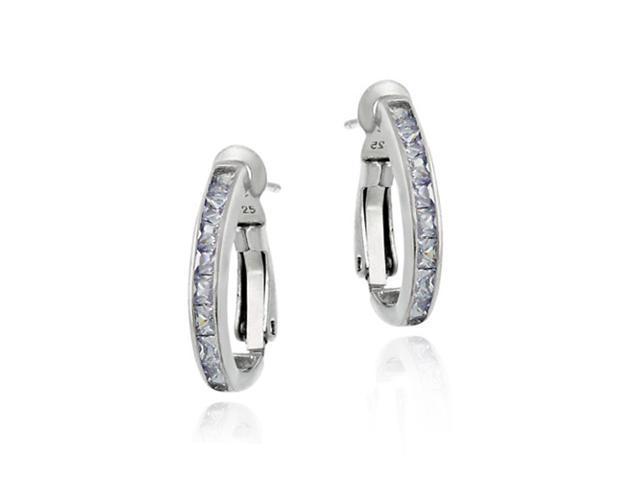 Sterling Silver Lavender cubic zirconia Oval Hoop Earrings