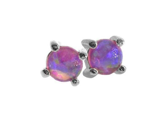 Sterling Silver 4mm Round Created Pink Opal Stud Earrings