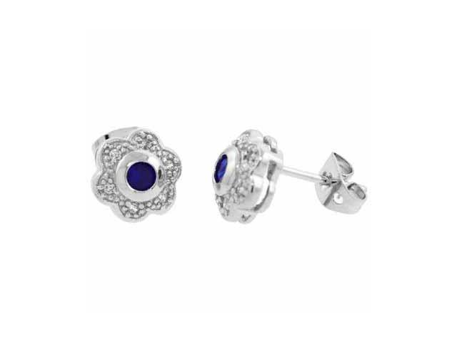 Sterling Silver Simulated Diamond CZ and Blue Cubic Zirconia Flower Earrings