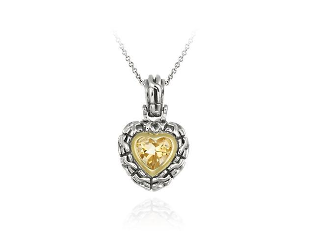 Sterling Silver Two Tone Designer Inspired Champagne CZ Heart Pendant w/ Braided