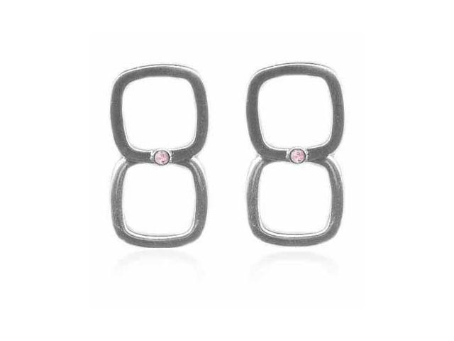 Sterling Silver Square and Pink Cubic Zirconia Diamond Earrings