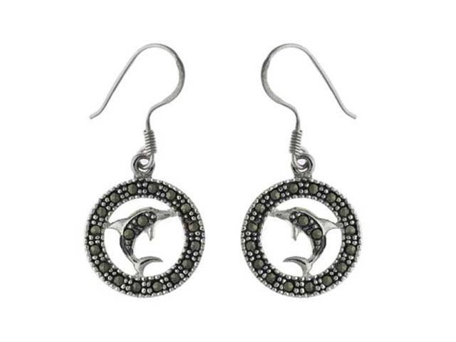 Sterling Silver & Marcasite Dolphin Circle Earrings