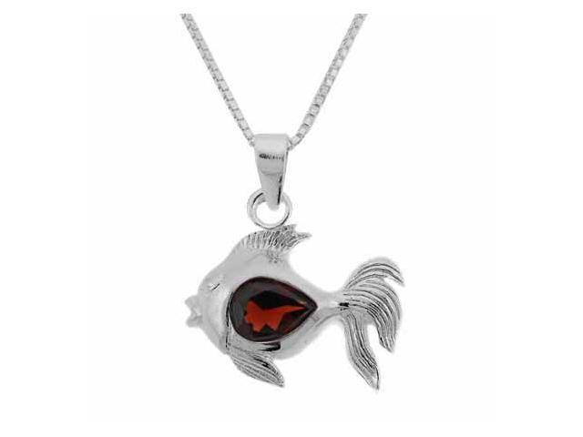 Sterling Silver Genuine Garnet Stone Fish Pendant