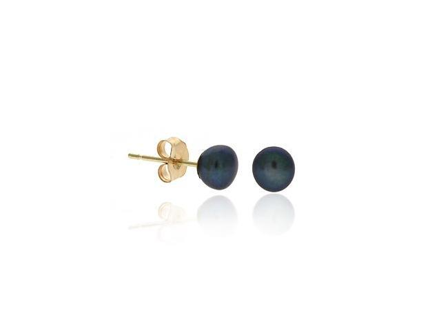 14K Gold Genuine Freshwater Cultured Peacock 4.5-5mm Button Pearl Stud Earrings