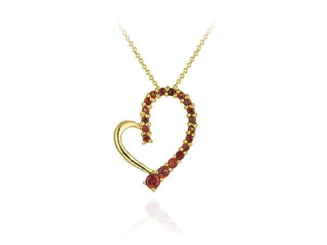 18K Gold over Sterling Silver Garnet Floating Open Heart Pendant
