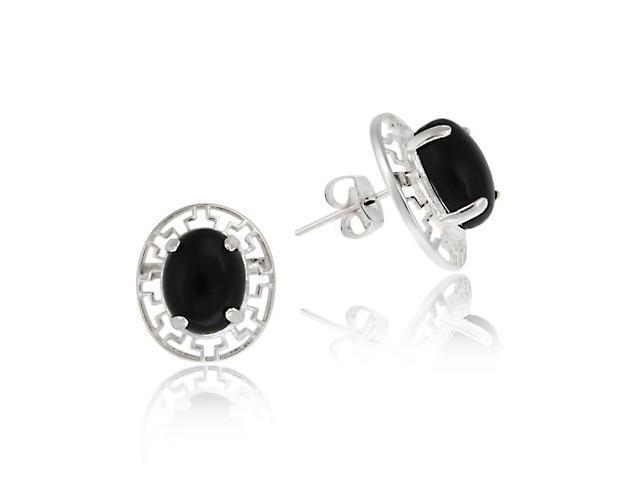 Sterling Silver and Oval Onyx Greek Key Design Earrings