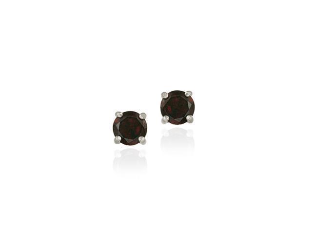 Sterling Silver Genuine Garnet 6mm Round Stud Earrings - January Birthstone