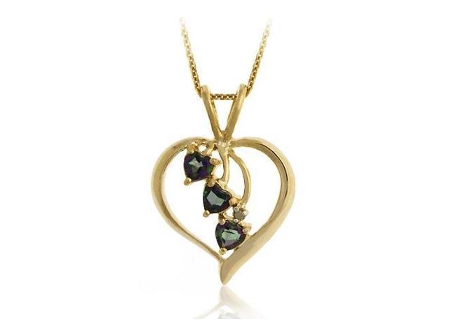 18K Gold Over Sterling Silver Mystic Topaz Heart Pendant