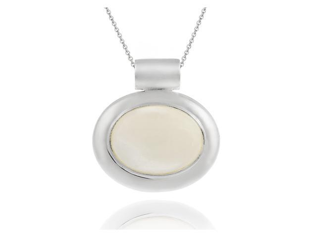 Sterling Silver Bold polished Genuine Mother of Pearl Slide/Pendant