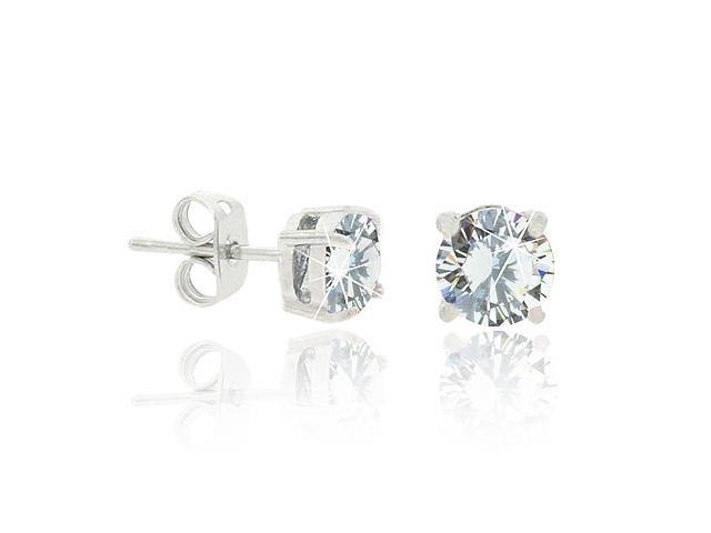 Sterling Silver 6mm CZ Round Stud Earrings