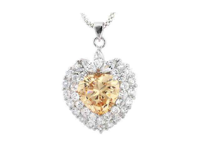 Sterling Silver Champagne & Clear CZ Heart Pendant