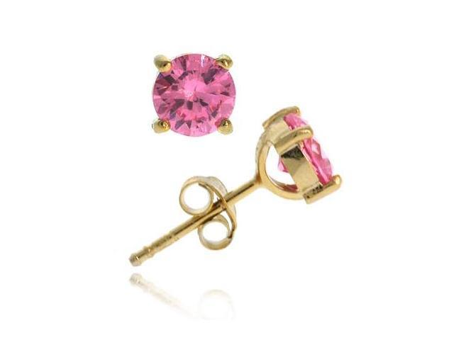 18K Gold over Sterling Silver Pink CZ 6mm Round Stud Earrings