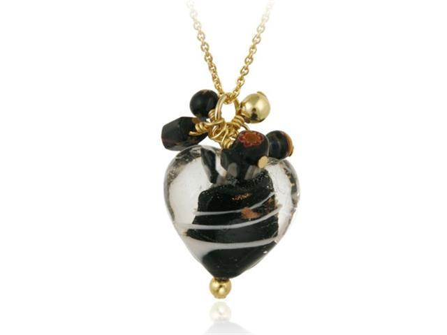 18K Gold over Sterling Silver Black Glass Cluster Heart Pendant