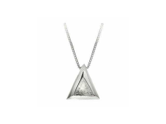 Sterling Silver Simulated Diamond cz Triangle Slide/Pendant
