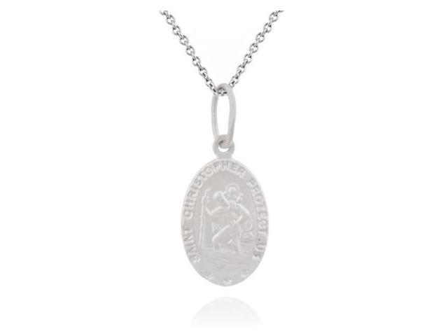 Sterling Silver Saint Christopher Oval Charm Pendant